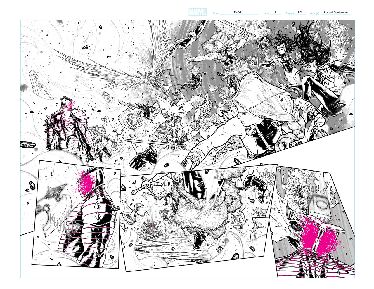 Thor #8 Page 1 and 2 Inks