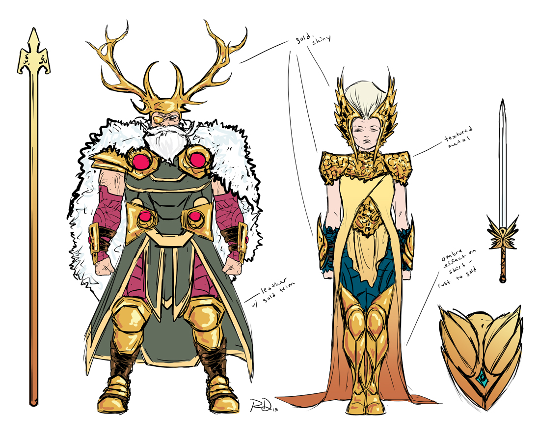 Freya and Odin designs by Russell Dauterman