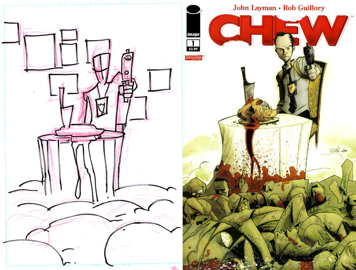 Chew #1 Cover Sketch and Final